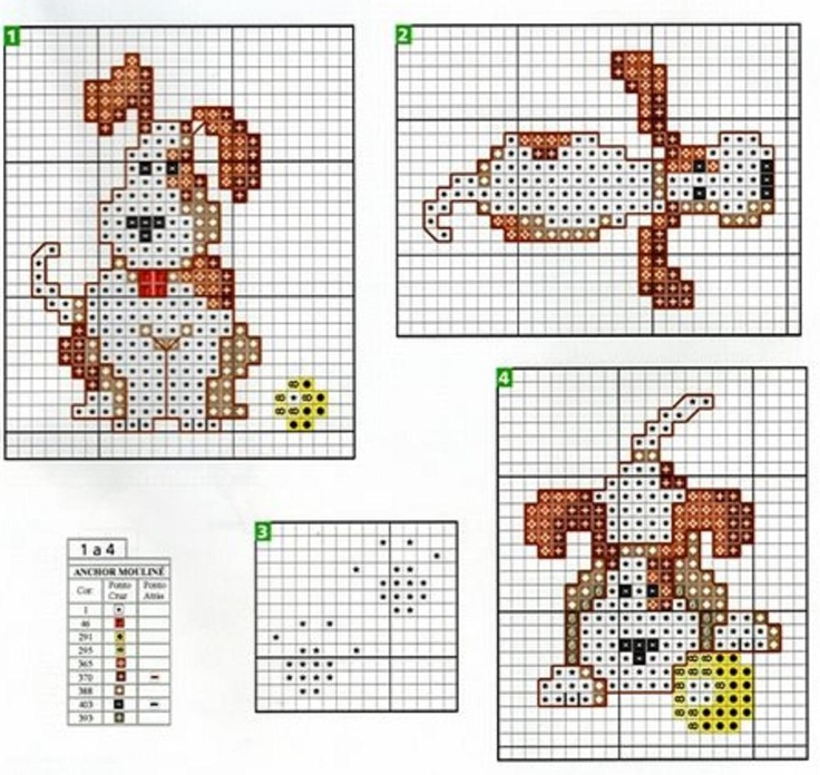 free cross stitch pattern: cute puppy