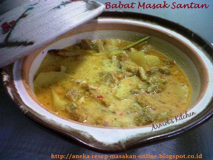 Babat masak santan   http://aneka-resep-masakan-online.blogspot.co.id/2016/01/reseo-babat-masak-santan.html