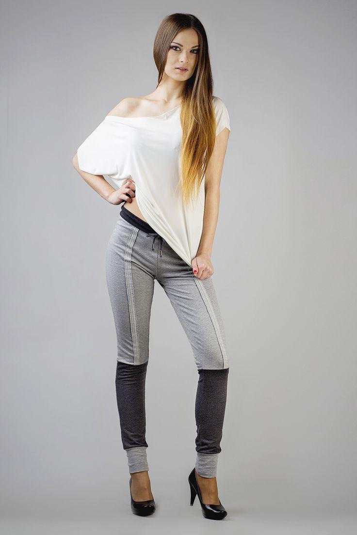 Szare spodnie damskie z elementami grafitu