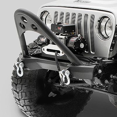 Smittybilt Front XRC Stinger Bumper in Textured Black for 87-06 Jeep Wrangler YJ, TJ & Unlimited