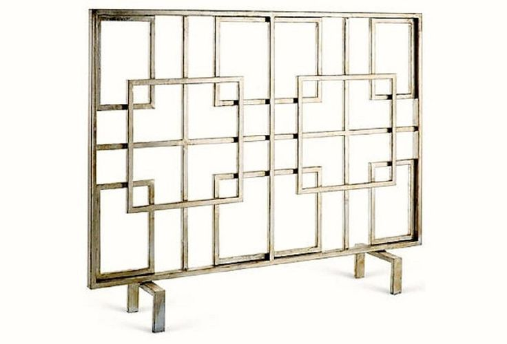 Awesome Geometric Iron Silver Squares Contemporary Fireplace Screen.40''x 31''H. #NA #Contemporary