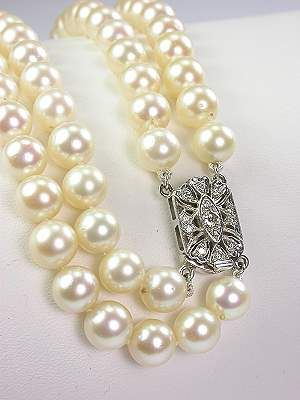 Double Strand Vintage Pearl and Diamond Necklace, NK-844, Topazery,  A diamond-studded clasp lends an unexpected splash of radiance to this classic double strand antique pearl necklace with diamond clasp.