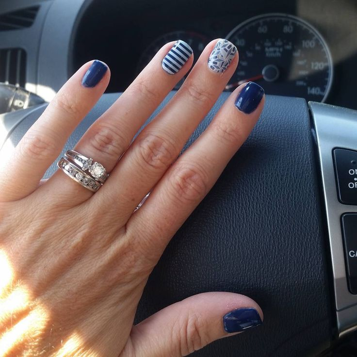 """First TruShine attempt. Loving Beta! Added Fractal and White Stripe as accents. Love this one!  maggieflorio829.jamberry.com  #jamberry #jamberrynails…"""