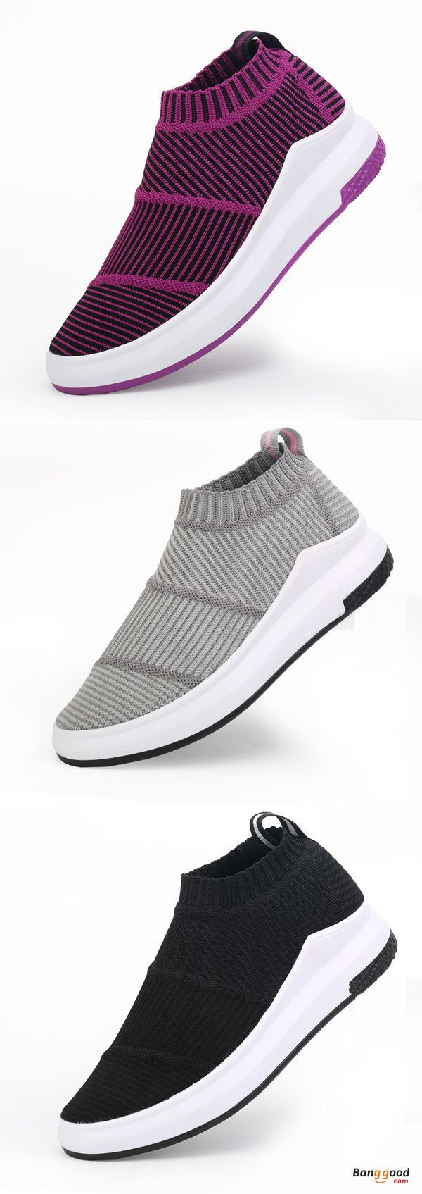 US$29.99 + Free shipping. Size: 5~9. Color: Black, Purple, Light Gray. Fall in love with casual and sport style! Women Weave Stripe High Top Platform Casual Breathable Sport Shoes.