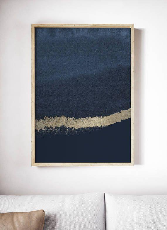 Large Abstract Art Prints Blue Paintings Indigo Navy Wall Art Minimal Watercolor Geometric Art Scandinavian Posters Printable Coastal Decor Blue Wall Art Minimalist Art Abstract Geometric Art
