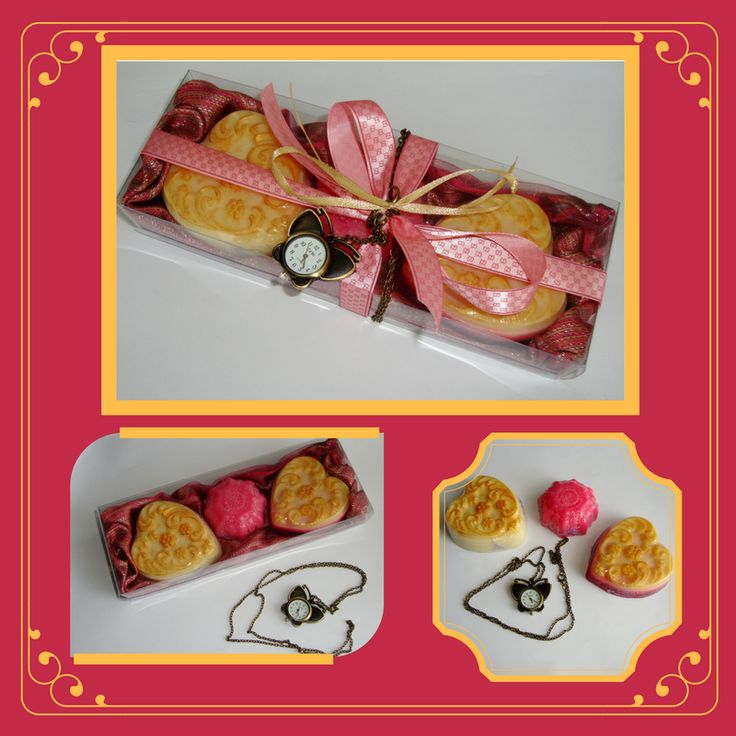 Original Pink Handmade Gift Set with heart golden color Glycerin Scented Soaps and a lovely bronze Modern Design Butterfly Pendant Necklace Quatz Watch in the packaging.  An extraordinary, very elegant, fashion gift for a young lady!  Ideal as Birthday Gift or Graduation Gift for a teen girl. Who is the lucky young lady to get it as a gift?