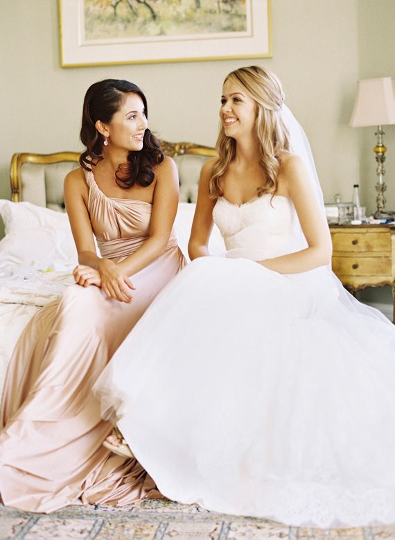 Love this pic of the bride and bridesmaid (blush Two Birds Bridesmaids dress)