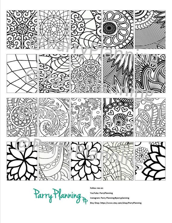 Coloring Printable for Vertical or Horizontal Erin Condren Planner - Printable Stickers - Coloring Stickers - Planner Printables - Mandalas