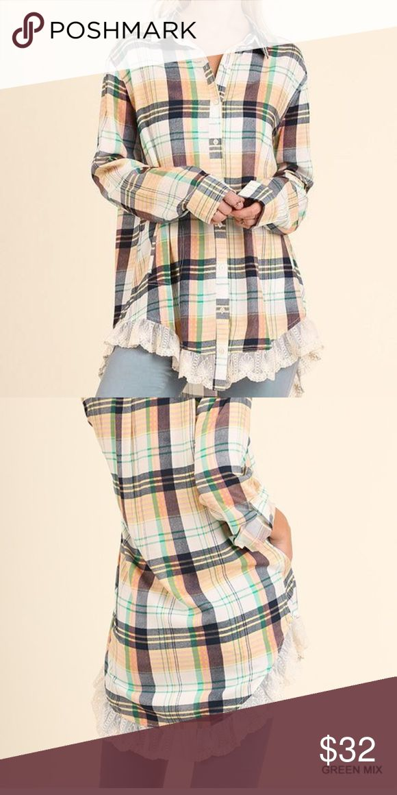 Blouse Button Up Plaid Tunic with Lace Trim on bottom available in 2-smalls, 2Med, 1-large Tops Tunics