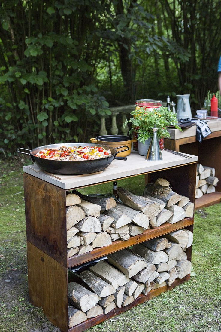 Keep dry wood close to hand and create a stylish seating area with this multi-purpose bench system. Additionally, one can use the OFYR dressoir as a Butcher Block to showcase your products.   #OFYR #Dressoir #theartofoutdoorcooking #grill #plancha ##design #fireplace #outdoor #summer #paella