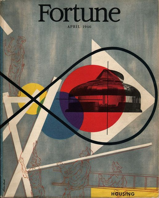 """cMag091 - Fortune Magazine cover """"Features the Dymaxion House"""" by Lester Beall / April 1946"""