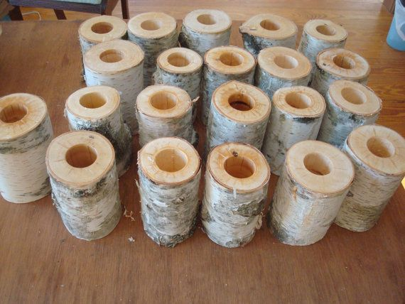 Birch log VASES set of (5) Simple eco piece for holidays, weddings, celebrations