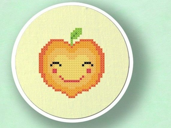 Happy+Peach.+Fruit+Cross+Stitch+Pattern+PDF+File+by+andwabisabi