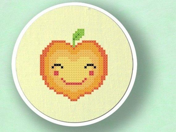Happy+Peach.+Fruit+Cross+Stitch+Pattern+PDF+File+by+andwabisabi