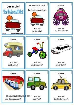 Verkehrs- und Transportmittel 2 _ Lesespiel