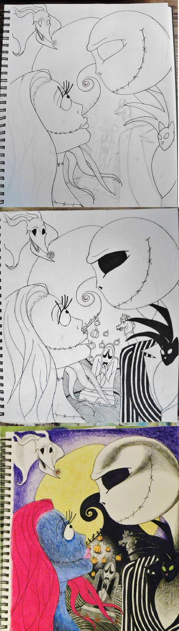 Got that feeling again!! I had an image in my head and I just had to start drawing immediately, this is what it turned out to be- perfect!♥ 2013 Nightmare Before Christmas