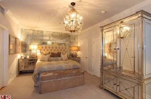 Kim Kardashianu0027s Champagne Colored Old Hollywood Glam Bedroom Is Fabulous.  I Want It For Myself And I Typically Donu0027t Like Antique Mirrors But It Wu2026