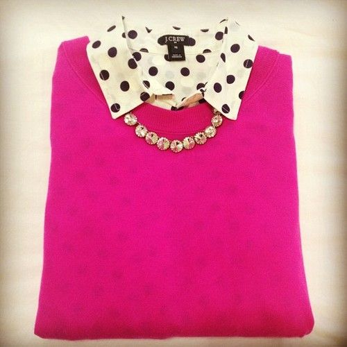 Idea. Have a polka dot blouse like this and a necklace similar to this. Would probably pair with a different color sweater.