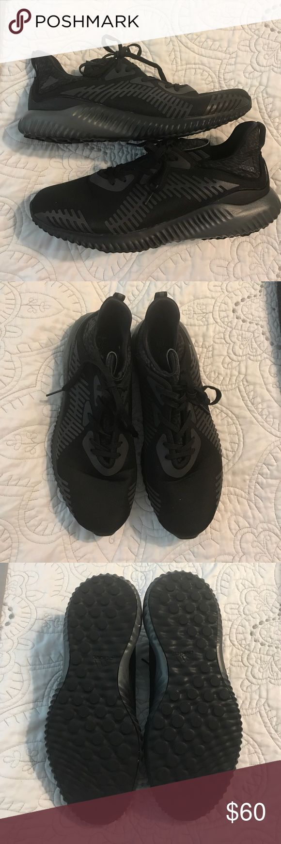Adidas Alphabounce Running Shoes Women's Adidas Alphabounce running shoes. All black, but have reflective details that light up when lights are on them. Size 9.5. Overall great condition, I did wear them a few times for softball, so there is some minor wear on the inside of the right shoe by the toe. Attached picture of wear adidas Shoes Sneakers