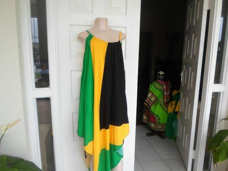 Jamacan Flag Custom Made Dress Sleeveless100% Cotton one size Check Plaid Casual
