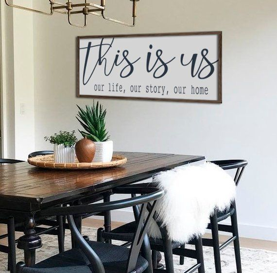 Farmhouse decor | wall decor | this is us sign | dining room wall art | large wood sign | farmhouse sign | large living room decor 48″ x 20″