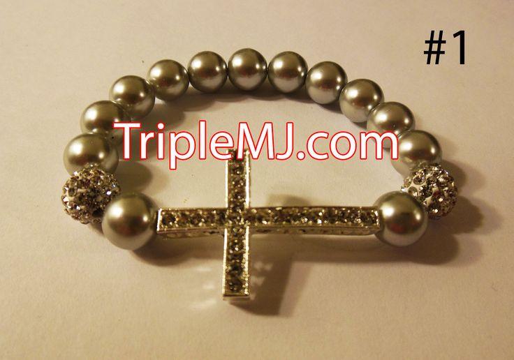 Pearl cross bracelet | Triple MJ