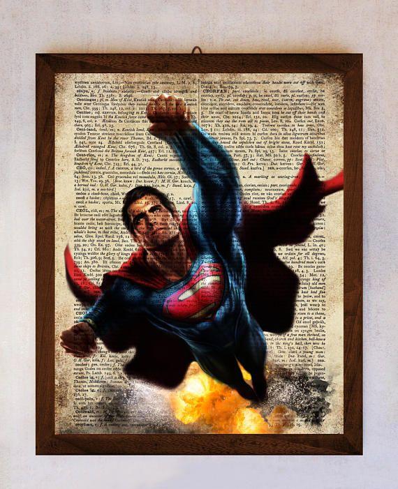 Superman Art Print Superman Poster Book Art Print