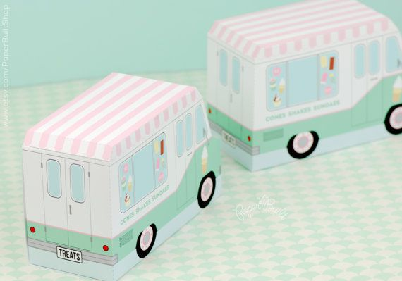 Il camion dei gelati gelato Party favore camion di PaperBuiltShop