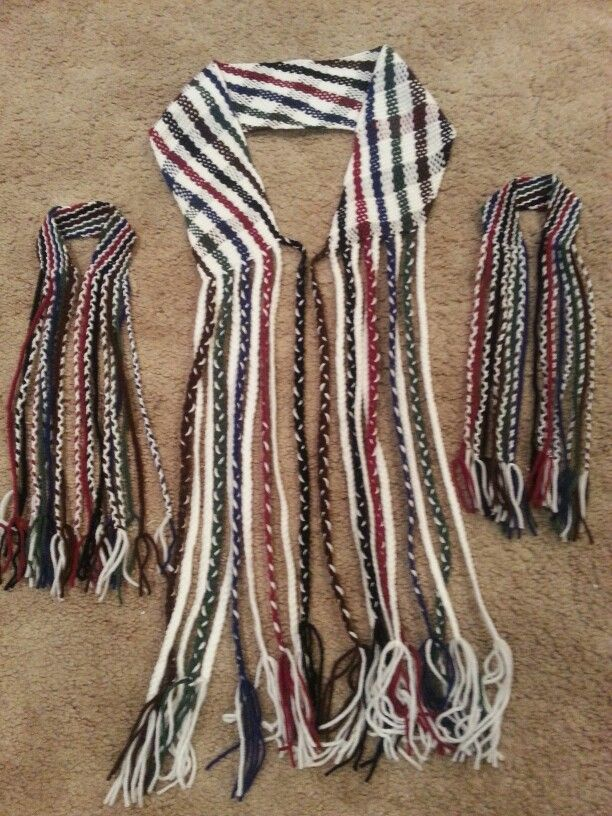 Finger woven belt and arm garters for OA ceremony regalia. Creek/Seminole.