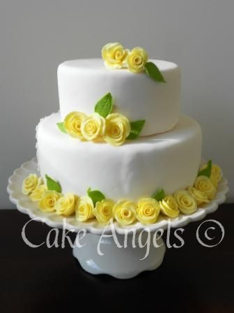 Yellow Roses Wedding Cake