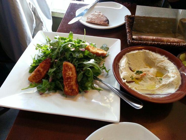 Tabule Restaurant (Middle Eastern Cuisine) @ Yonge and Eg - Great lamb kebobs and halloumi arugula salad.  Lots of great vegetarian options too...  http://www.yelp.ca/biz/tabule-restaurant-toronto