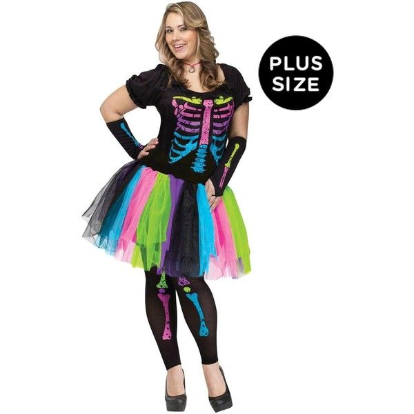 Adult Funky Punk Bones Plus Size Costume ($50) ❤ liked on Polyvore featuring costumes, halloween costumes, skeleton costume, plus size womens costumes, adult costume and adult 80s costumes