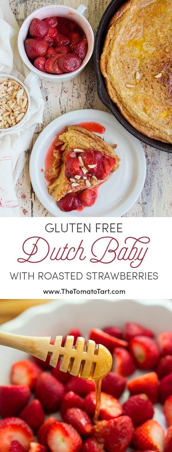 Ahora, ESTO, es el brunch.  Sin Gluten Holandés Bebé con la miel Fresas asadas.  YUM!  #client