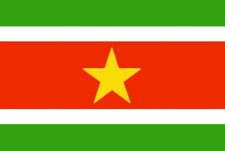 Suriname Flag ~ The current flag of Suriname was officially adopted on November 25, 1975.           The white represents freedom and justice and the red and green were the colors of the political parties during independence. The gold star symbolizes unity and hope