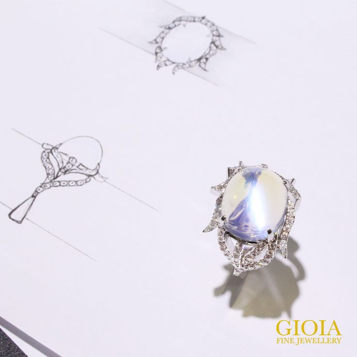 The beauty of bespoke jewellery, allow you to transform your idea and story into reality.  Moonstone Feather Ring in 18k White Gold with Brilliant-cut Diamonds, bring life to the natural beauty of a feather.  www.gioia.com.sg  #gioiafinejewellery #bespokefinejewellery#customisedjewellery #custommadejewelry#luxury #tanjongpagar #internationalplaza#finejewellery #preciousstones #internationalplaza#featherring #moonstone #moonstonering