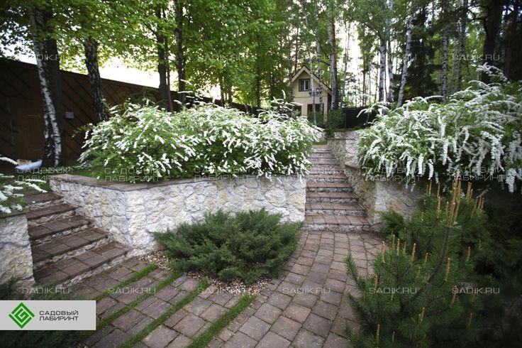 Подпорная стена, садовая лестница