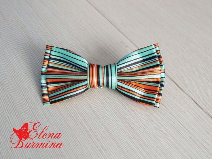 Купить Бабочка галстук полосатая, атласная - разноцветный, в полоску, бирюзовый, оранжевый, черный, бабочка-галстук