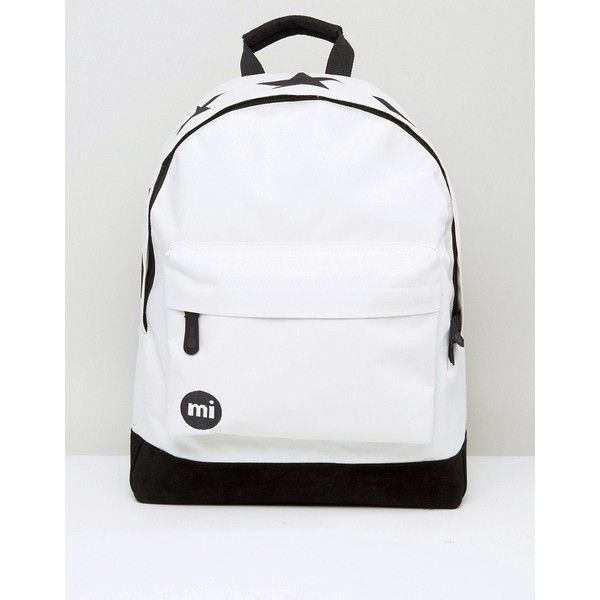 Mi-Pac Classic Backpack in Monochrome ($26) ❤ liked on Polyvore featuring men's fashion, men's bags, men's backpacks, white, mens travel backpack, mens one strap backpack and mens laptop backpack
