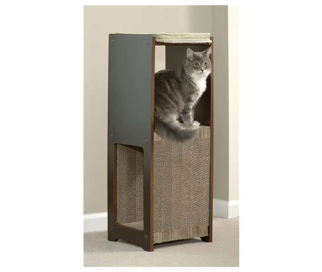 SF-417193Sauder Furniture Elevated Perch Espresso Cat Pad Scratcher | 417193