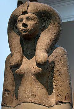 Parte superior de la estatua de la reina Ahmose-Meritamón en el Museo Británico de Londres.