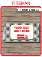 Fireman Party Food Labels template
