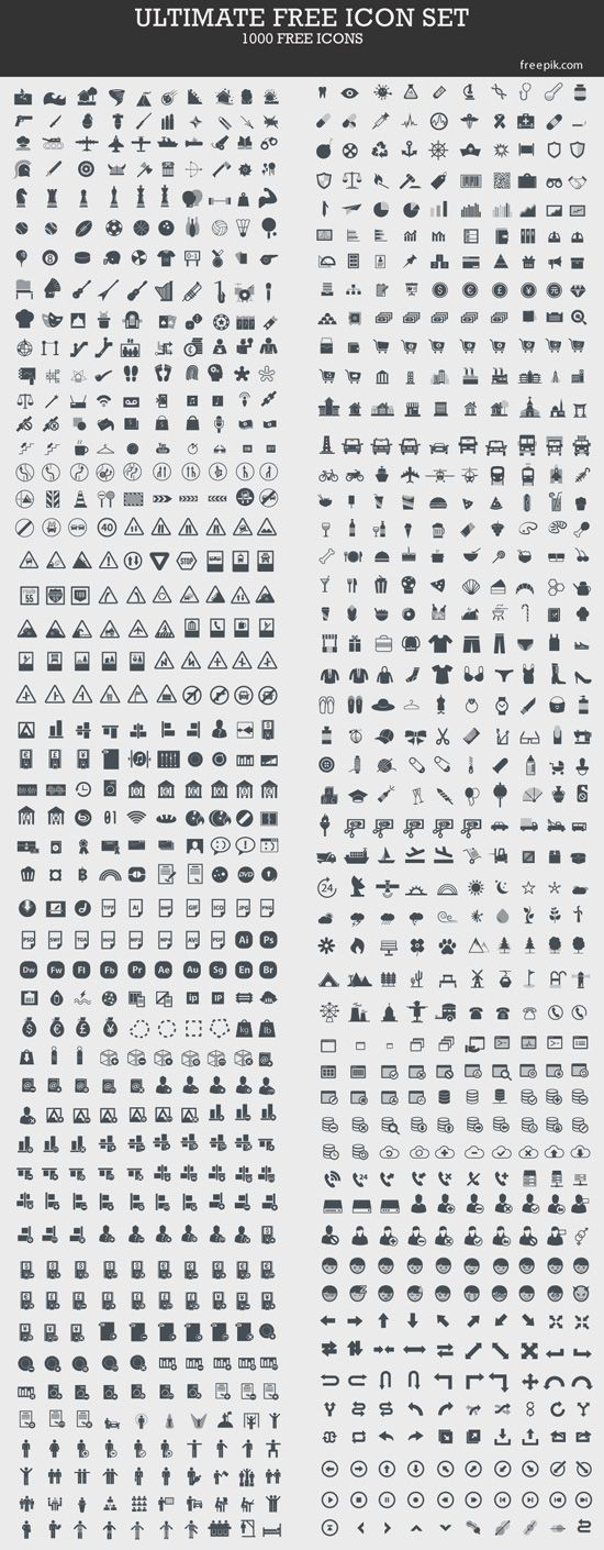 Ultimate Free Icon Set: 1000 Free Icons