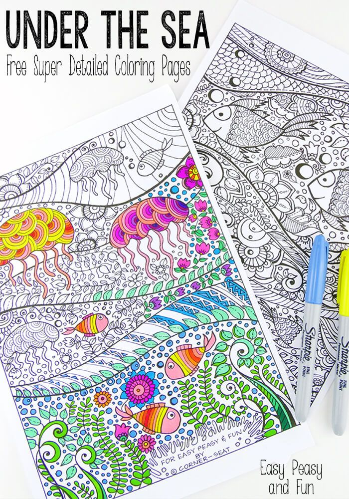 Under the Sea Coloring Page for Adults - Grab this free printable and take your mind on a colorful vacation!