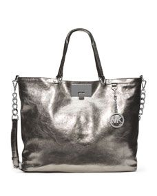 MICHAEL Michael Kors Large Channing Shoulder Tote in silver.What a Fabulous  bag!