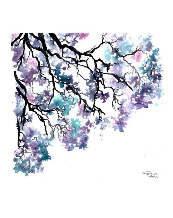 Meet me under the jacaranda tree, print from original watercolor study by Jessica Durrant via Etsy