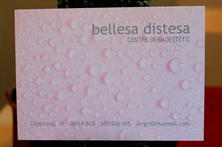 BELLESA DISTESA Cabestany, 18, Les Corts 08014 - Barcelona Tel.: 93 321 46 64 http://centro-estetica-les-corts.blogspot.com.es