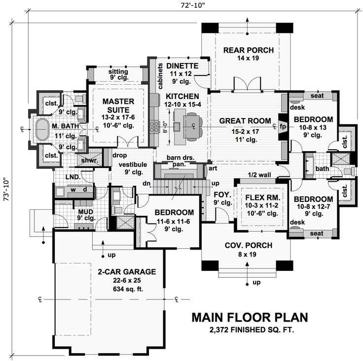 Craftsman Style House Plan - 4 Beds 3 Baths 2372 Sq/Ft Plan #51-572 Floor Plan - Main Floor Plan - Houseplans.com