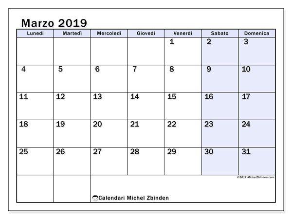 Calendario Marzo 2019 57ld Calendario2019 Calendario Settembre