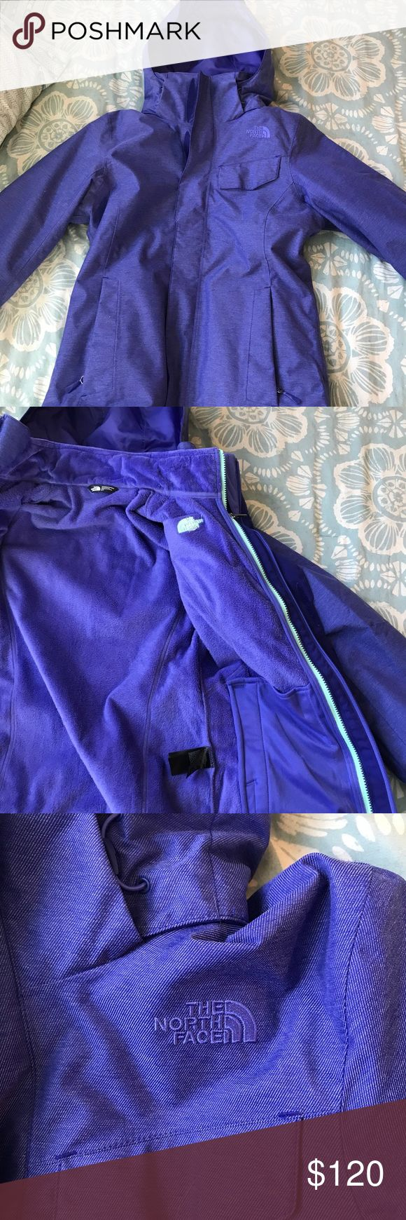 North face winter jacket Very pretty bluish purple north face winter coat! Has 2 layers, and is super soft! Message me an offer :) North Face Jackets & Coats