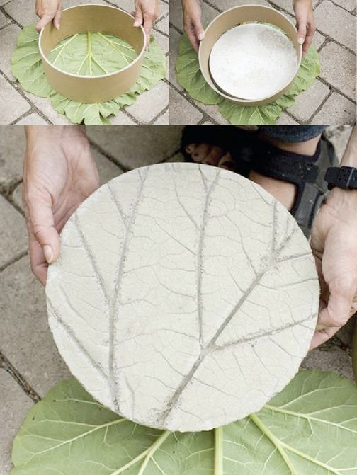 "One large leaf + any shaper + concrete = A fun new paver! This idea came from Allt Om Tradgard, A Swedish garden journal. The photographs were by Anna Evenius. For more innovative ways to spruce up your garden, see book, ""Shamanic Gardening: Timeless Techniques for the Modern Sustainable Garden."""